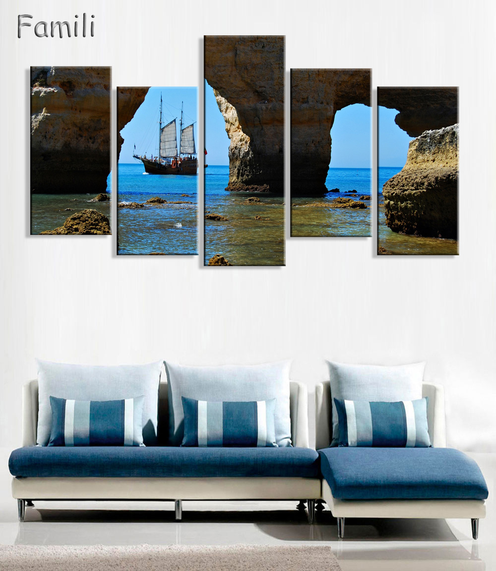 5Panel Sailboat Canvas Paintings For Living Room Wall Modern ...