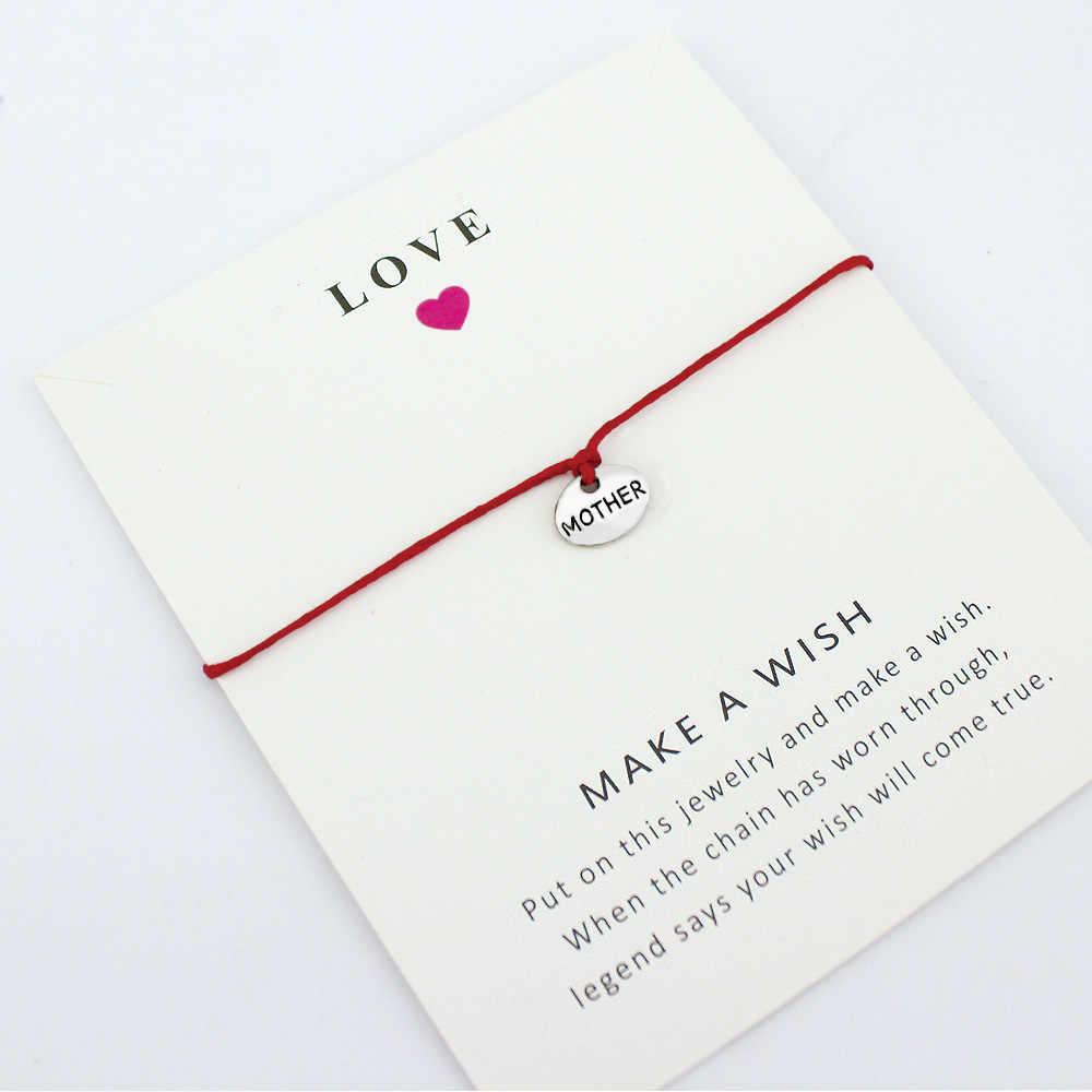 Joy ที่ดีที่สุด Faith Angel Charm Card สร้อยข้อมือแม่ลูกสาวยายปู่น้องสาวพ่อ Brother ผู้หญิงผู้ชายเครื่องประดับ Unisex