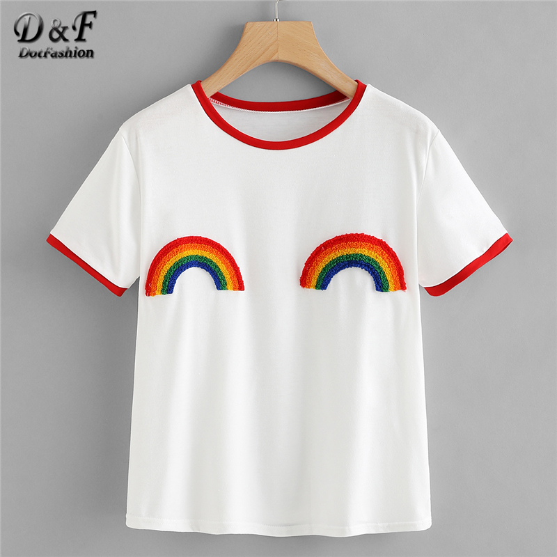 Dotfashion Rainbow Patched Ringer Tee 2018 Summer Round Neck Short Sleeve T-shirt Girl White Preppy New Fashion Tops