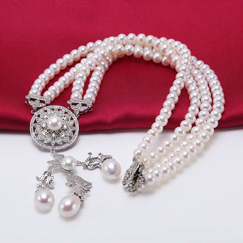 6mm AAA Drop Real Cultured Freshwater Pearl Double Chain Bracelet Gifts