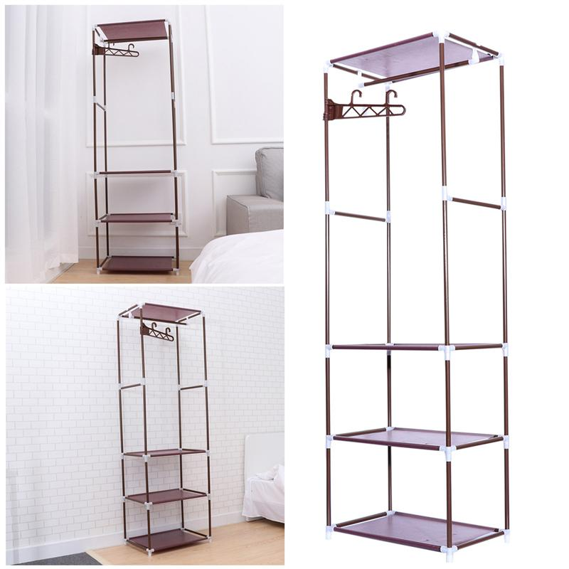 Bathroom Hardware 1pcs Portable Clothes Rack Organizer Bedroom Garment Floor-standing Shelf Clothing Coat Rack Storage Stand Bathroom Fixtures