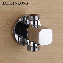 BAOLINLONG Brass Accessories Square Kitchen Bathroom Angle Valve Toilet Sink Basin Water Heater Angle Valves 2 pcs 1 2 male x 1 2 male brass bathroom angle stop valve chrome copper tap toilet bathroom basin laundry