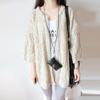 Hot Sale Solid Bread Twist Knitted Cardigan Hollow Out Three Quarter Cardigan Women Long Loose Sweater