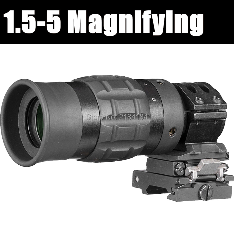 FIRE WOLF B Red Dot Sight Scope 1.5-5 ZOOM Magnifier Fits Dot Sight With Flip To Side Picatinny Weaver Rail Mount Hunting tactical red dot sight scope 3x magnifier side flip mount for picatinny rial mount base rbo bk m7467
