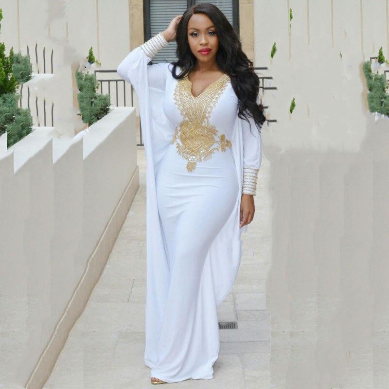 Dubai evening dresses long sleeve white and gold prom for White kaftan wedding dress