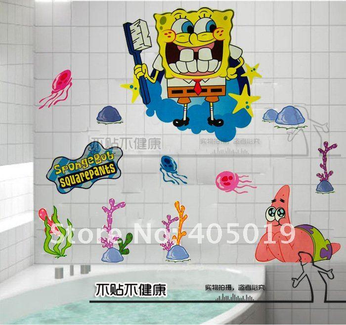 60x90cm hl6855 spongebob stickers squarepants cartoon for Cartoon mural painting
