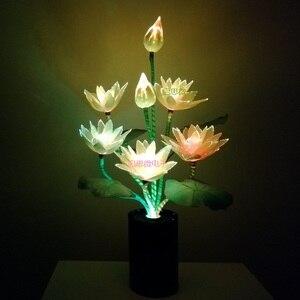 Image 4 - W nowym stylu 7 głowice kwiat Led światła lotosu światła buddy lampa Fo lampa nowość artystyczne z włókna optycznego kwiat