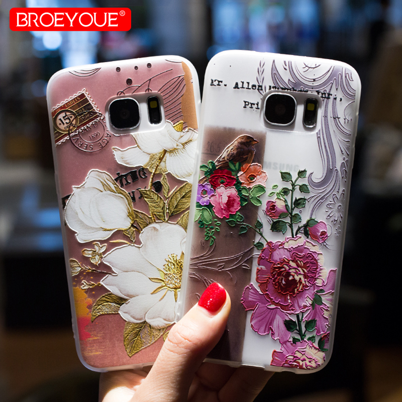 BROEYOUE Case For Samsung Galaxy J3 J5 J7 2017 Pro A3 A5 A7 A8 2016 2017 2018 3D Relief Case Cover For Samsug S7 Edge S8 S9 Plus in Fitted Cases from Cellphones Telecommunications