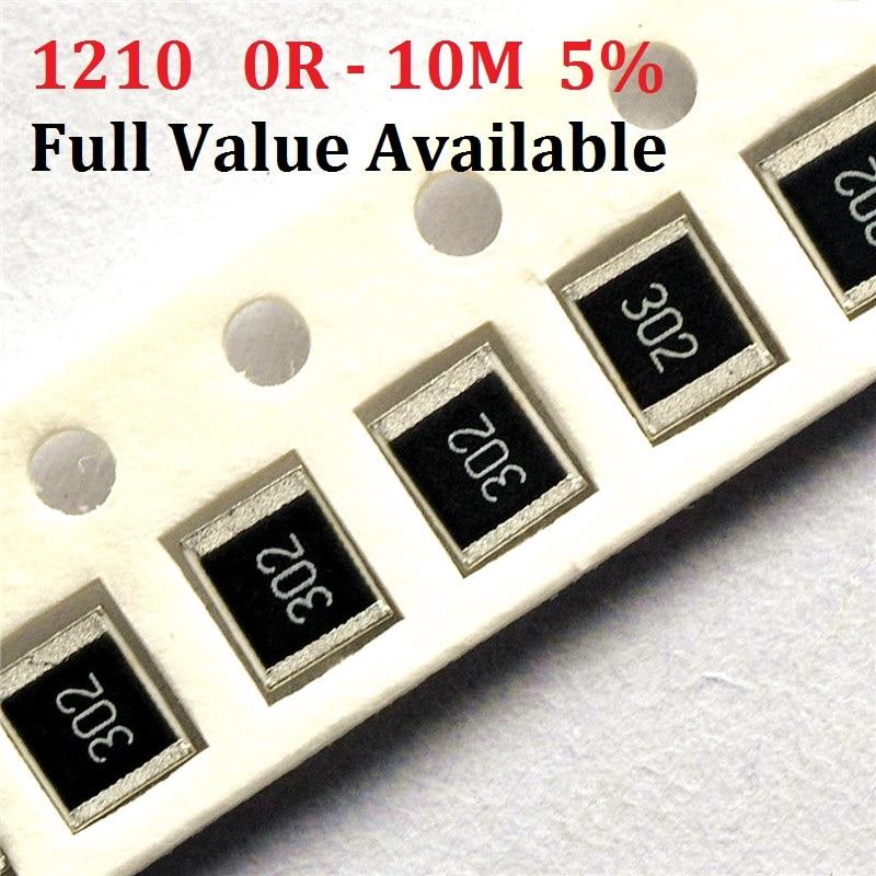 Bateau libre 100 pièces SMD Puce Résistance 1210 10 K ohm 5% 0R ~ 10 M 10R 100R 220R 330R 470 ohm 1 K 2.2 K 10 K 100 K 0R 1R 2/3/4/5/ 6/7/8/9/R/K