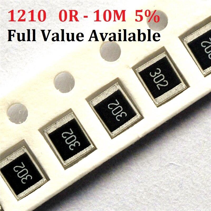 Free Ship 100pcs SMD Chip Resistor 1210 10K Ohm 5% 0R~10M 10R 100R 220R 330R 470 Ohm 1K 2.2K 10K 100K 0R 1R 2/3/4/5/6/7/8/9/R/K