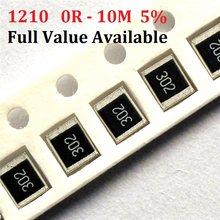 Navio livre 100pcs SMD Chip Resistor 1210 K ohm 5% 0R 10 ~ 10M 10R 100R 220R 10 1 330R 470 ohm K 2.2K K 100K 0R 1R 2/3/4/5/ 6/7/8/9/R/K