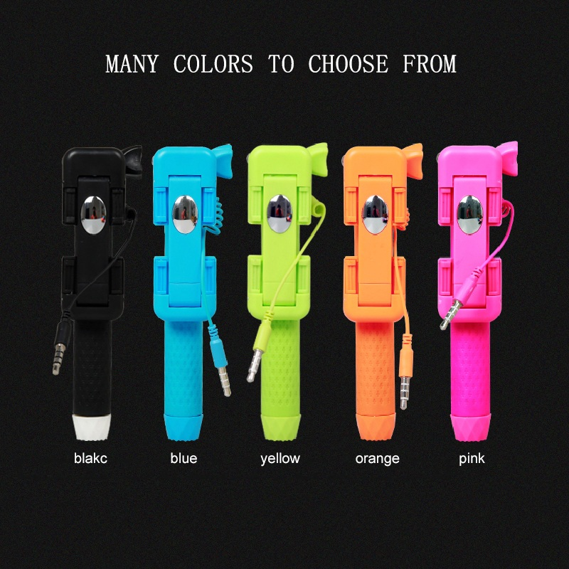 2017 New Mini Selfie Sticks Cable remote control selfie pole monopod For iPhone xiaomi android ios