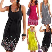 Plus Size Women's Sleeveless Loose Summer Beach Flower Dress Flower Print Style plus size flower sleeveless dress