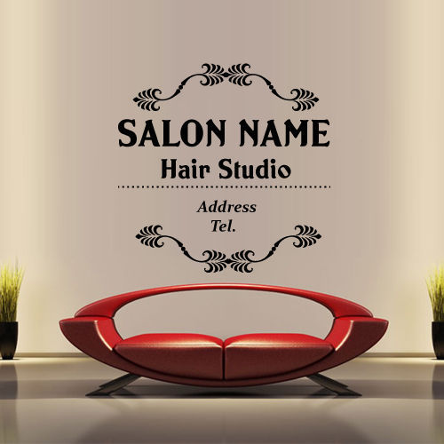 Hair salon vinyl wall decal hair salon name custom wall sticker beauty hairstyle signboard sign hair shop glass decoration in wall stickers from home