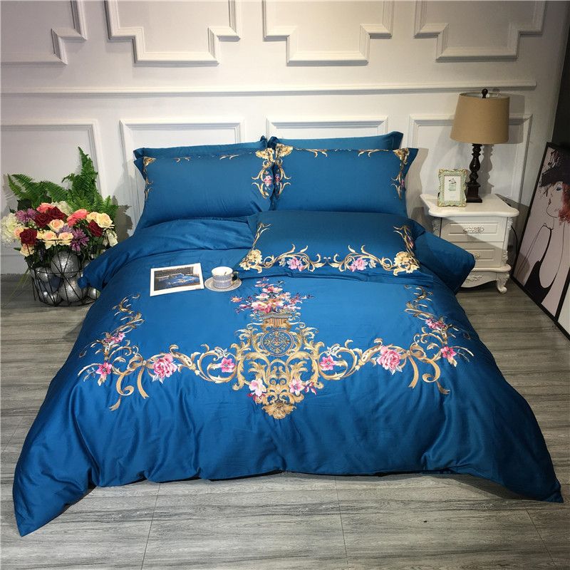 New Blue Purple Queen King size Bedding Set Egyptian Cotton Luxury Embroidery Bed set Bedsheets set bedlinen Duvet quilt 40New Blue Purple Queen King size Bedding Set Egyptian Cotton Luxury Embroidery Bed set Bedsheets set bedlinen Duvet quilt 40