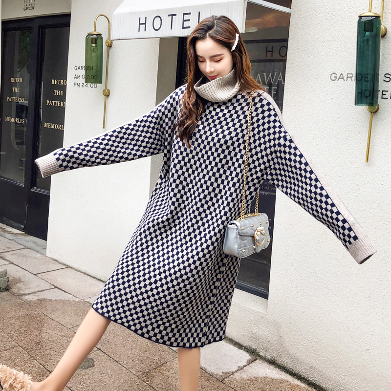 Fat mm knitted sweater 2018 new autumn winter dress fat sister loose 200 Jin cover belly