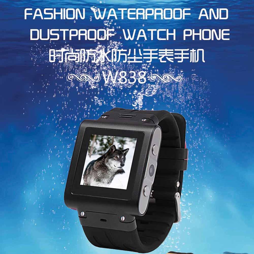 2018 W838 Smart Watch Phone IP67 Waterproof Quad-Band GSM Support SIM Card Bluetooth GPRS MP3 MP4 Touch Screen Camera FM Radio free shipping 1pcs lot smallest sim800l gprs gsm module micro sim card core board quad band ttl serial port