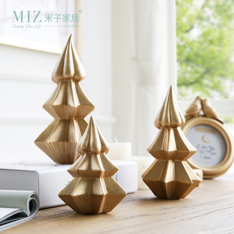 Metal Tabletop Christmas Tree: Miz 1 Piece Christmas Tree Ceramic Golden Color Pine Ice