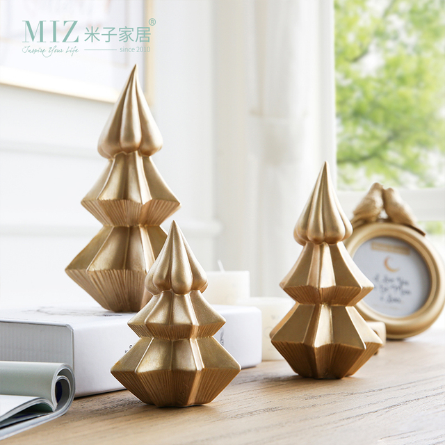 miz 1 piece christmas tree ceramic golden color pine ice cream shape tree christmas decoration gift - Ceramic Christmas Decorations