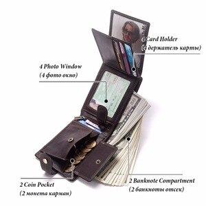Image 4 - GZCZ جديد 100% حقيقية محفظة جلدية رجالي ذكر محفظة نسائية للعملات المعدنية Portomonee المشبك للمال ل سستة جيب حامل بطاقة غلق بمشبك المال حقيبة
