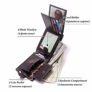 Image 4 - GZCZ nowy 100% prawdziwej skóry portfel mężczyźni męska portmonetka Portomonee zacisk na pieniądze na kieszeń na suwak posiadacz karty Hasp portfel