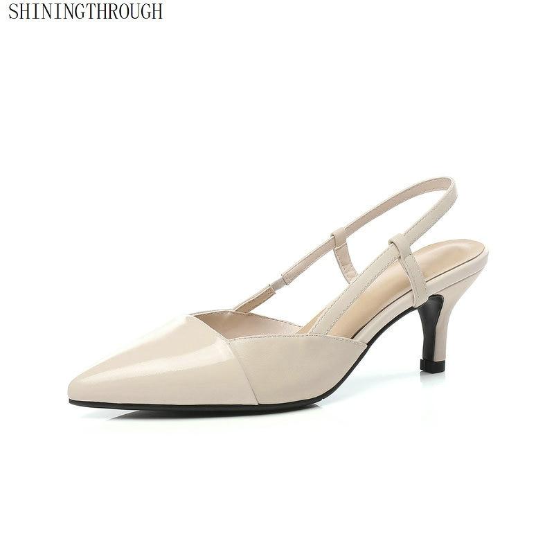 fb699c05a6d719 Beige Dames Chaussures 2019 Véritable Cuir 44 Grande Taille D'été Femmes 43  En Pompes Partie Mariage Poined noir Orteil Escarpins ...