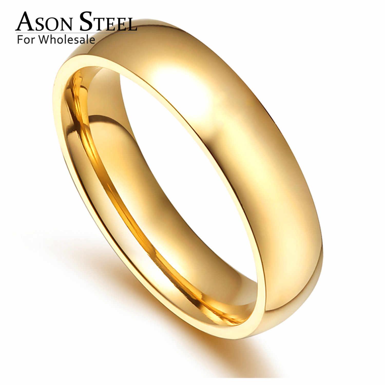 Asonsteel Vàng/Bạc Màu Trơn Nhẫn Đính Hôn Nữ/Đồng Hồ Nam Thép Không Gỉ 6 Mm Nhẫn Đôi Nhẫn Cặp Tiệc Cưới size 6-12