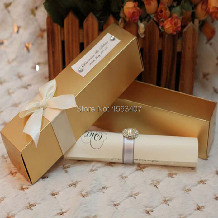 Elegant wedding invitations in a box
