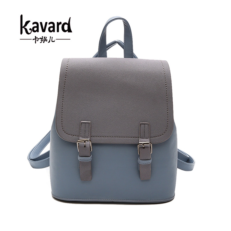 Kavard Brand Backpack Women Backpacks Fashion Small School Bags for Girls Black Scrub PU Leather Female Backpack Sac A Dos 2017