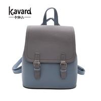 Kavard Brand Backpack Women Backpacks Fashion Small School Bags For Girls Black Scrub PU Leather Female