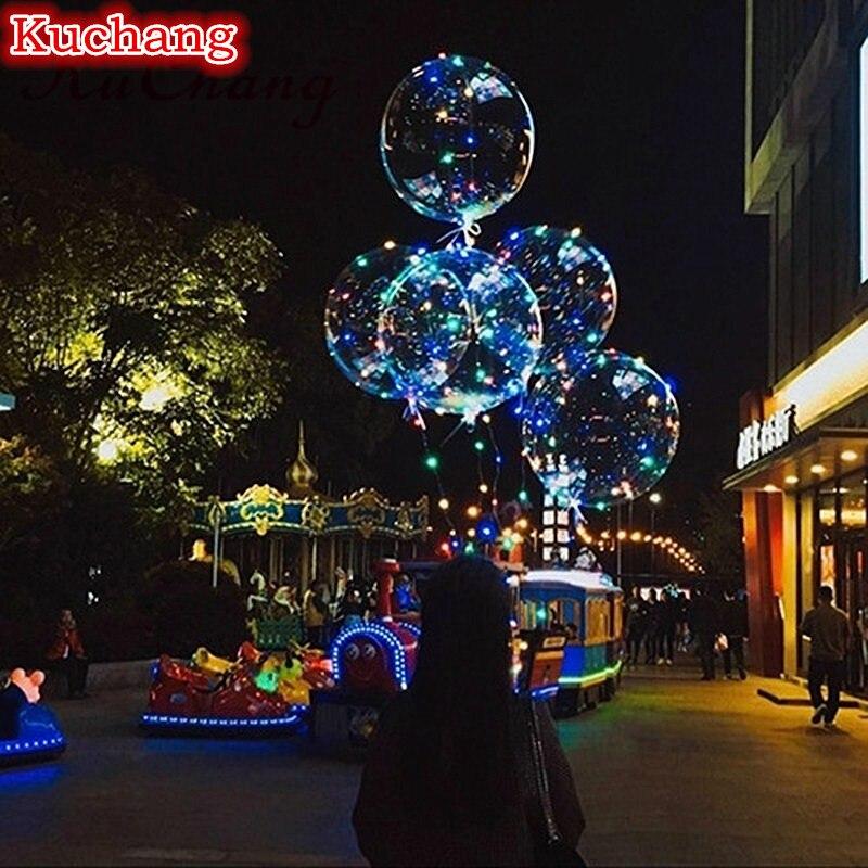 30 대/몫 18 24 36 inch 빛나는 led 풍선 + 3 m led 공기 풍선 문자열 조명 거품 헬륨 풍선 웨딩 파티 장식-에서풍선 & 액세서리부터 홈 & 가든 의  그룹 1