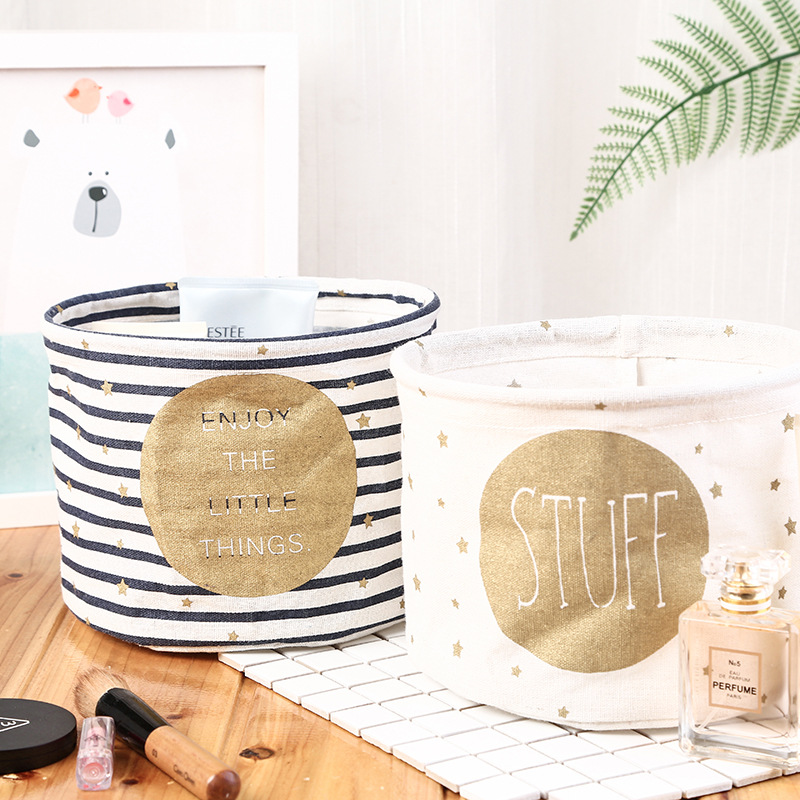 Cotton Linen Desktop Storage Basket Sundries Storage Box Small Cute Table Storage Basket Space-Saving Storage Bags Organizer