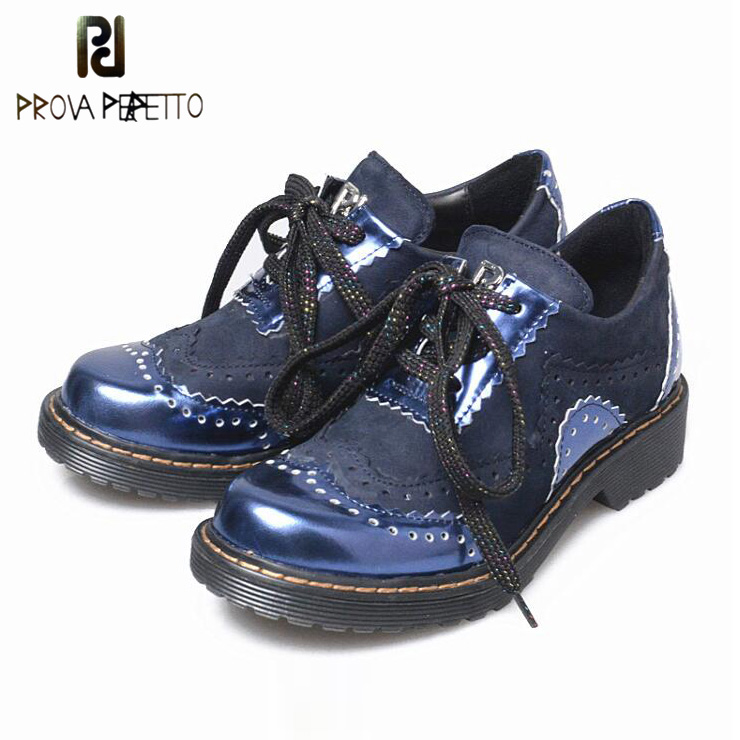 Prova Perfetto Mixed Color Genuine Leather Brogue Shoe Women Vintage Genuine Leather Bullock Low Heel Lace Up Women Oxford Shoes prova perfetto fashion new low heel flip flop shoes popular style mixed color genuine leather cozy women outside summer sandals