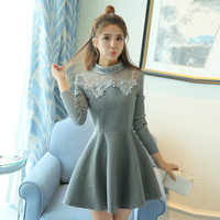 New Fashion Women Dresses Winter Dresses Cute Casual Long Sleeve Slim Lace Sleeve Style Europe Style