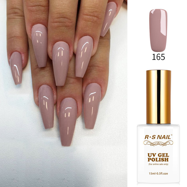 RS Nail 15ml led uv color gel nail polish nude color No.165 nail design gel  lacquer manicure vernis semi permanant - RS Nail 15ml Led Uv Color Gel Nail Polish Nude Color No.165 Nail