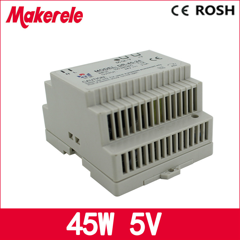 Low price switching power supply DR-45-5 LED Din Rail mounted Power Supply Transformer 110V 220V AC to DC 5V 9A 45W Output ac dc dr 60 5v 60w 5vdc switching power supply din rail for led light free shipping