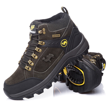 Mens Waterproof Genuine Leather High-Top Outdoor Trekking Hunting Shoes Spring Autumn Winter Mens Sport Climbing Shoes