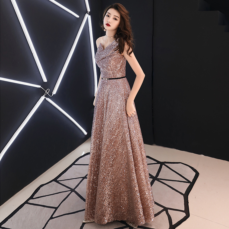 In Stock 2019 New Long Evening Dress Wine Red Back V Neck Shine Sequin Sparkle Elegant Women Evening Party Gowns LYFY78 in Evening Dresses from Weddings Events