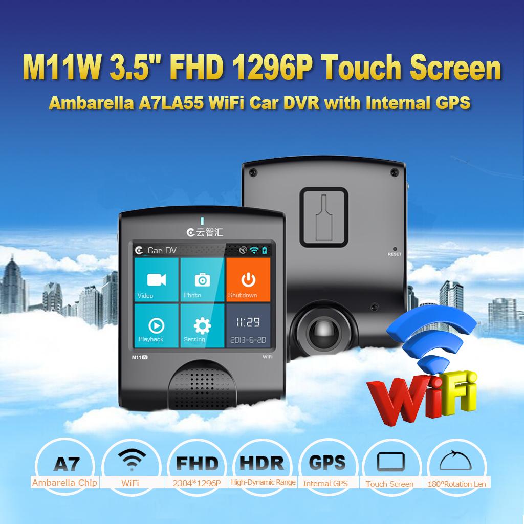 """Prix pour 3.5 """"Tactile LCD H.264 2 K 1296 P HDR LDWS FCW Voiture Vidéo caméra DVR Ambarella A7LA55 Puce GPS WiFi G-sensor Tableau de Bord Caméra M11W"""