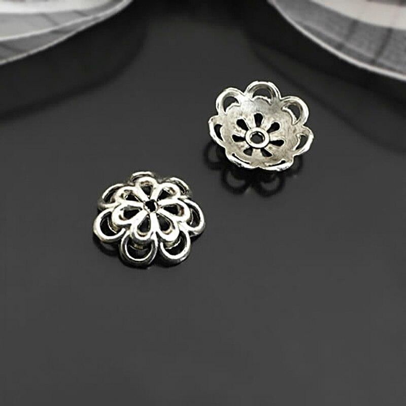 (26930)50PCS 15MM Antique Silver Zinc Alloy Flower Beads Caps Diy Jewelry Findings Accessories Wholesale