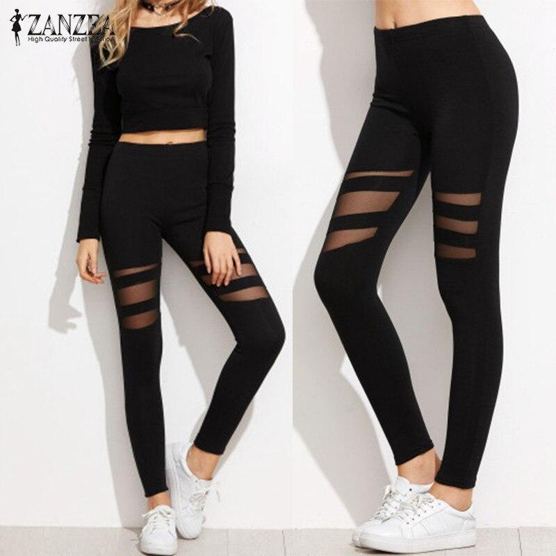 ZANZEA Women Leggings 2018 Casual Fitness High Waist Leggings Sexy Mesh Workout Insert Leggings Plus Size Black Pants Trousers