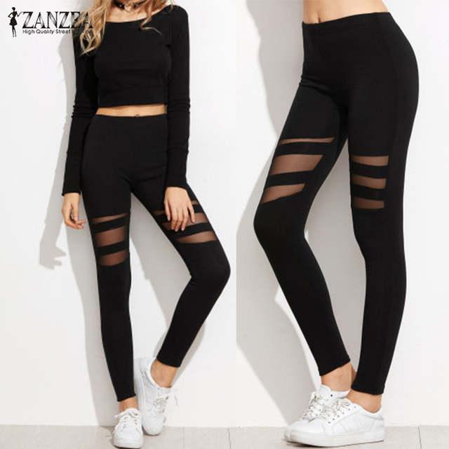 ZANZEA Women Leggings 2018 Casual Fitness High Waist Leggings Sexy Mesh  Workout Insert Leggings Plus Size 408d2d8bbef1