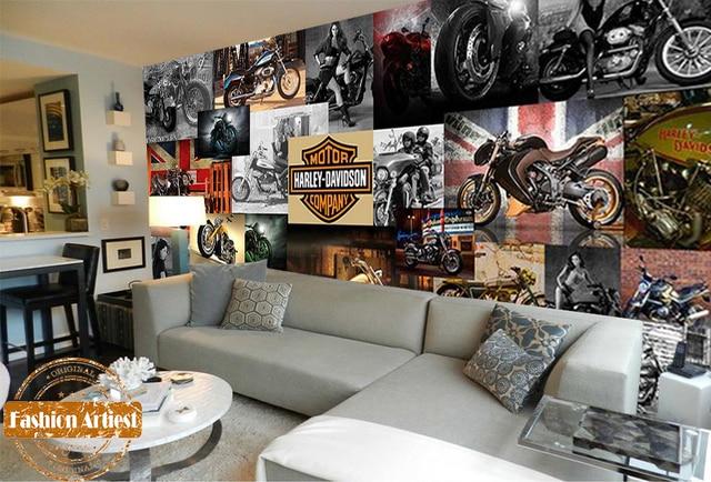 Custom Harley Davidson Moto Ciclo De Motor Do Vintage Cartaz Papel De  Parede Mural Tv Part 50