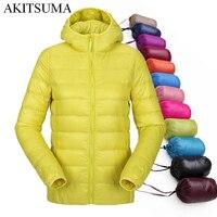 Women Ultra Light Down Jacket Hooded Winter Duck Down Jackets Women Slim Long Sleeve Parka Zipper
