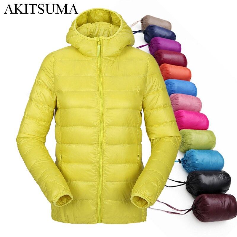Женщины ultra light пуховик с капюшоном зима утка вниз куртки женщин тонкий длинный рукав куртка на молнии пальто 2017 AKITSUMA