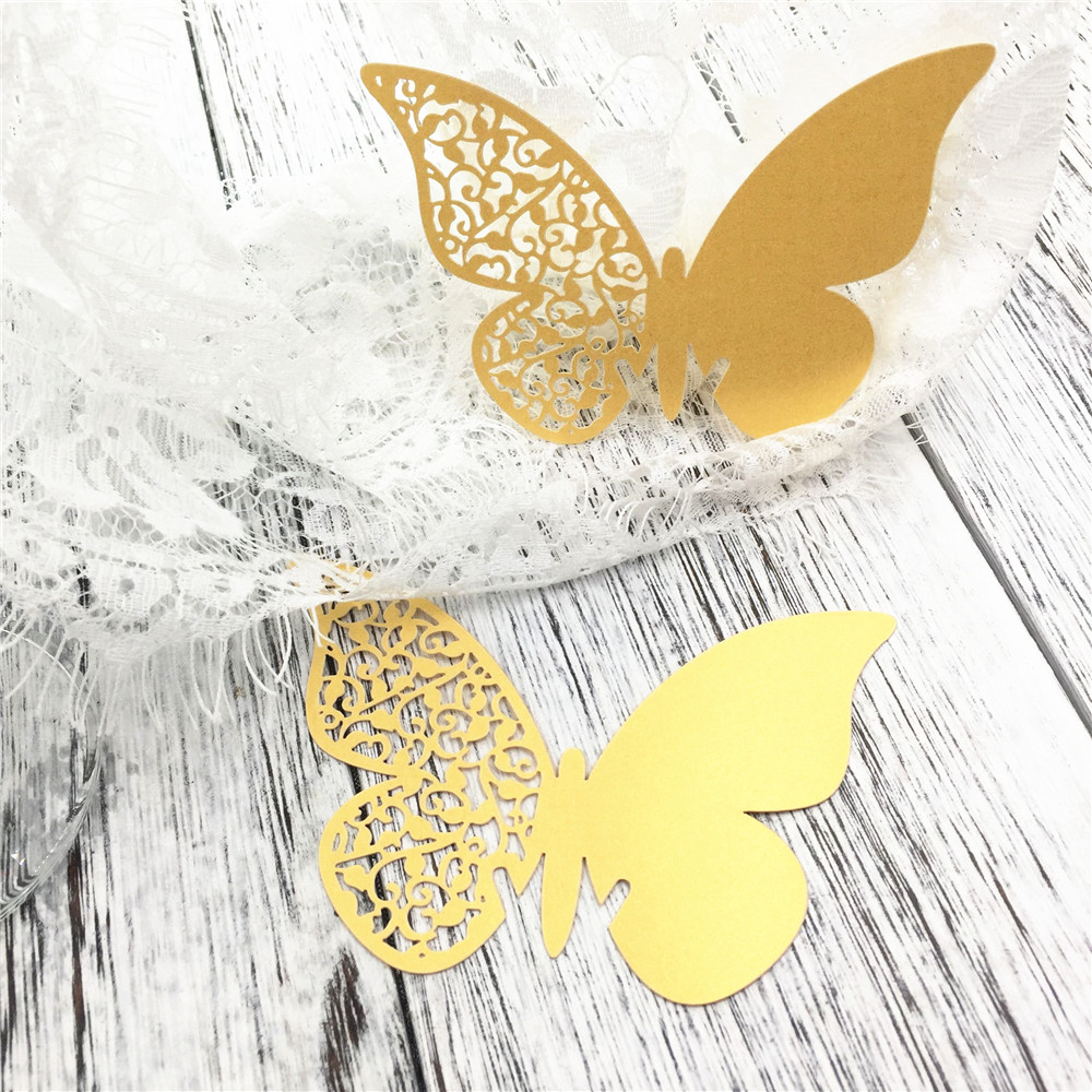 Wine Glass Escort Card Paper Cup Butterfly Laser Cut Party Rustic Mr Mrs Wedding Birthday Party Mugs Decorations Kids 48pcs