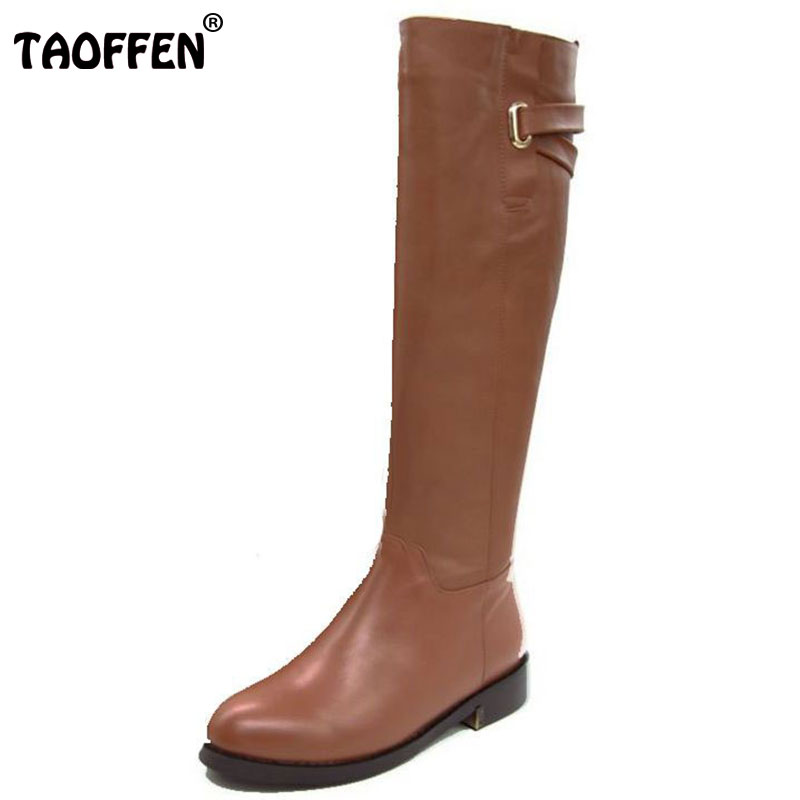 TAOFFEN Size 35 43 Russia Winter Warm Over Knee Real Genuine Leather Low Heel Boots Women