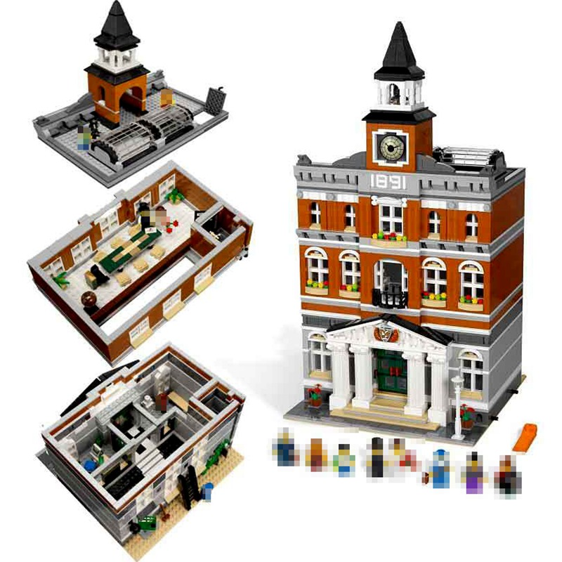 Lepin Street View 15003 The Town Hall 2859Pcs Building Blocks Toys For Children Compatible Legoing Creators Architecture 10224 конструктор lepin creators магазинчик на углу 3 в 1 491 дет 24007