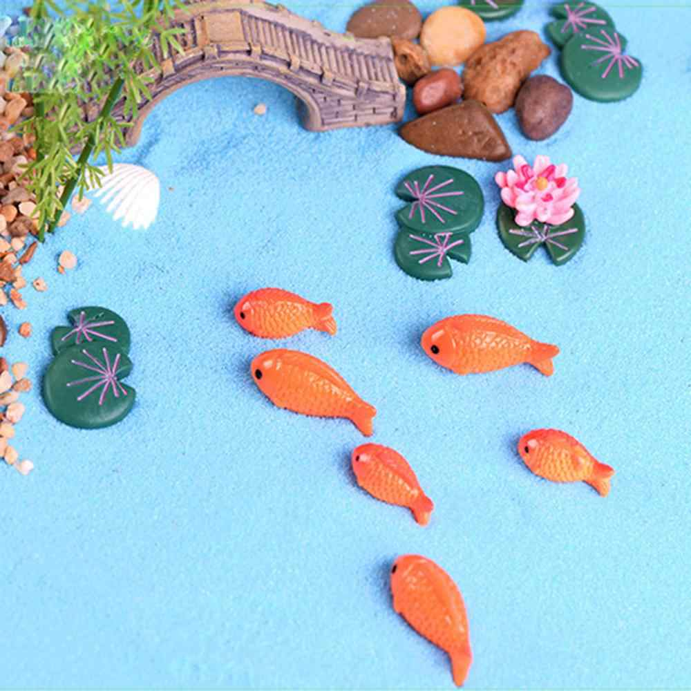 3Pcs Miniature เรซิ่น Lotus Leaf ดอกไม้กบชุด DIY Micro สวนดอกไม้หม้อ Bonsai Dollhouse เดสก์ท็อปตกแต่ง