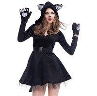 Women Short Dress Halloween Cosplay Black Mesh Dress With Cat Ears Party Clubwear Dress Vestidos